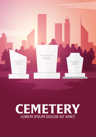 burning: Funeral sevices and Funeral agency banner. Cemetery. Vector illustration