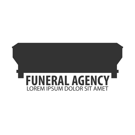 obituary: Funeral home undertaking ceremonial service. Funeral agency. Vector logo and emblem