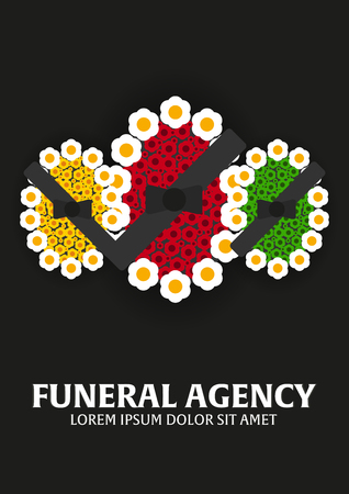 Funeral services and funeral agency banner. Illustration