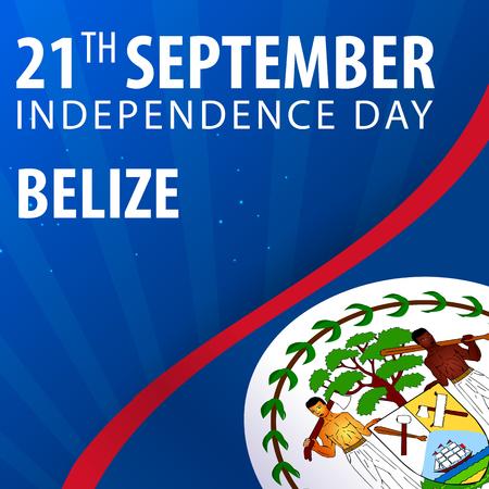 Independence day of Belize. Flag and Patriotic Banner. Vector illustration