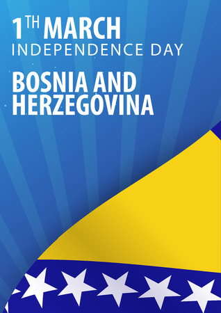 Independence day of Bosnia and Herzegovina. Flag and Patriotic Banner. Vector illustration Illustration