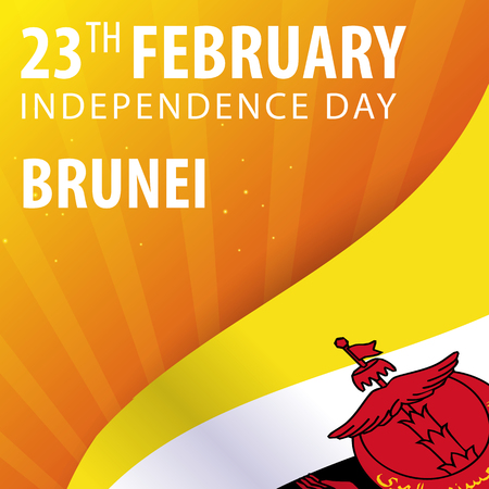 nationalist: Independence day of Brunei. Flag and Patriotic Banner. Vector illustration Illustration
