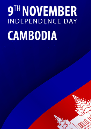 Independence day of Cambodia. Flag and Patriotic Banner. Vector illustration