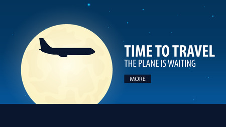 webbanner: Time to travel. Plane is waiting. Vector illustration
