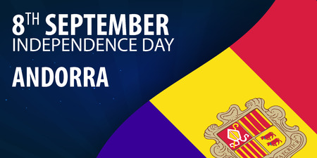 tourism in andorra: Independence day of Andorra. Flag and Patriotic Banner. Vector illustration