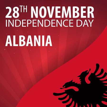 Independence day of Albania. Flag and Patriotic Banner. Vector illustration