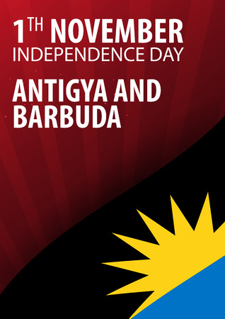 antigua: Independence day of Antigua and Barbuda. Flag and Patriotic Banner. Vector illustration