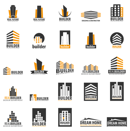 Building logo. Design department. Modern Buildings Company icons