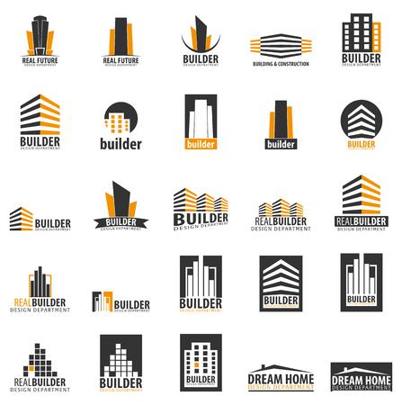 Logotipo do edifício. Departamento de design. Empresa de edifícios modernos ícones Foto de archivo - 82987622