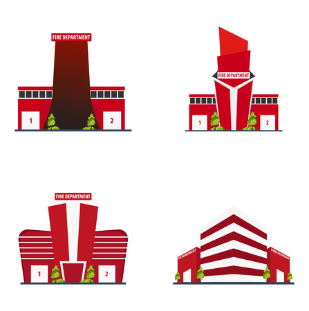 Set of Fire department Modern building in flat style isolated on white background Stock Vector - 82985103
