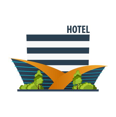 website header: Hotel building. Guest house. Travel and trip Illustration