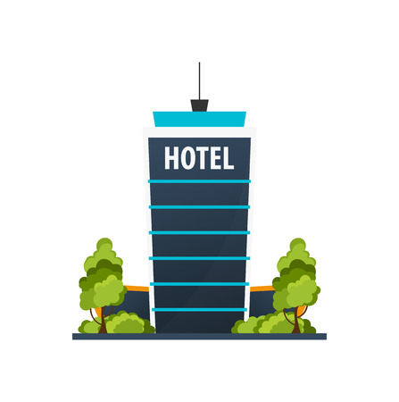 Hotel building. Guest house. Travel and trip Illustration