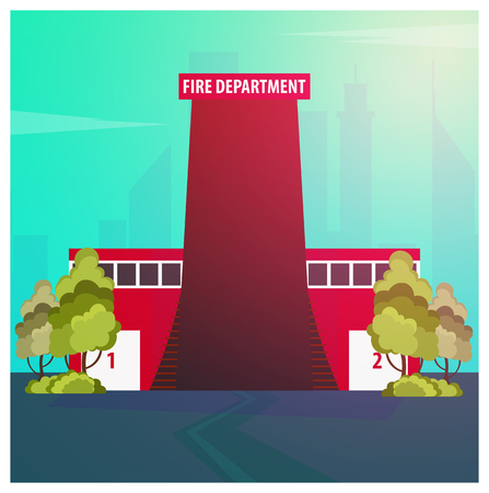 Fire department Modern building in flat style isolated on white background Stock Vector - 83078032