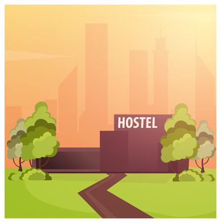 Hostel building. Guest house. Hotel building Travel