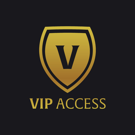 prestige: Vip emblem with shield. Luxury Vector illustration