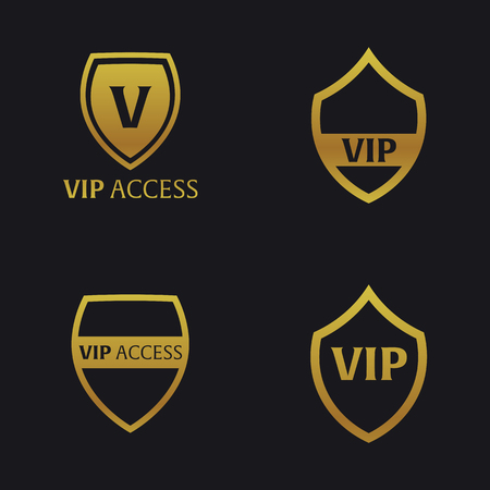 prestige: Set of Vip emblems with shield. Luxury Vector illustration