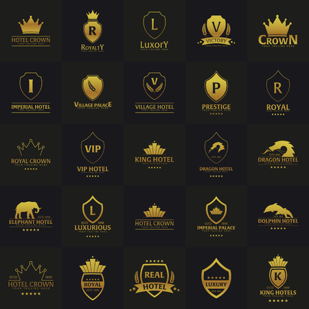 Set of Luxury Hotel Logos and Emblems. Vector logo illustration