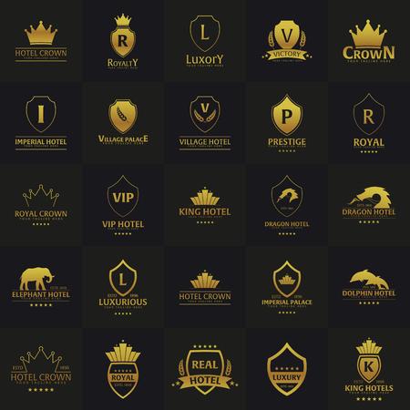 Set luxe hotel logo's en emblemen. Vector logo illustratie Stock Illustratie