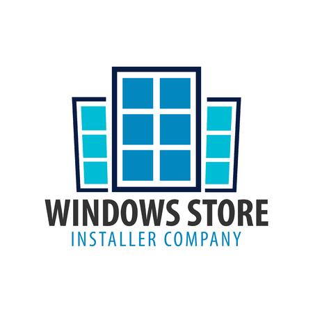 Logo Windows-winkel. Installer bedrijf. Vector illustratie Stock Illustratie