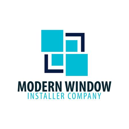 Modern venster installateur bedrijfslogo. Vector illustratie.