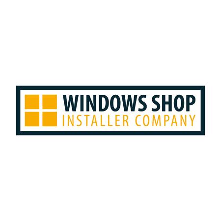 Window shop installer bedrijfslogo. Vector illustratie.