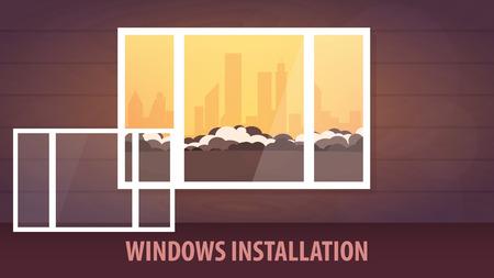 Windows installatie banner. Uitzicht vanuit het raam. Vector illustratie Stock Illustratie
