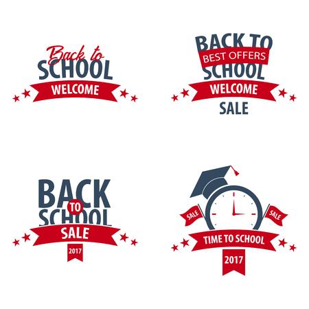 Set of Back to School logo or emblem. Sale and Best offers. Vector illustration Illustration