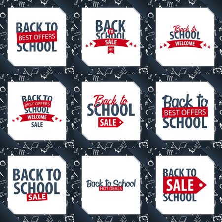 Set of Back to School backgrounds. Education banner. Vector illustration