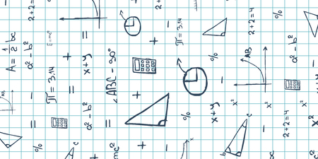 Mathematics subject. Back to School background. Education banner Ilustrace