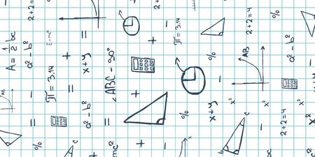 Wiskunde vak. Terug naar school achtergrond. Onderwijs banner Stock Illustratie