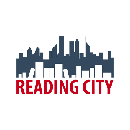 Reading city Book Store Education and book emblem.