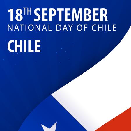 bandera chilena: Día de la Independencia de Chile. Bandera y Bandera Patriótica. Ilustración del vector Vectores