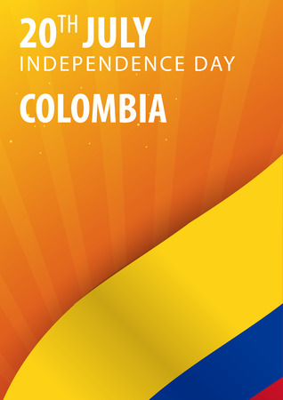 Independence day of Colombia. Flag and Patriotic Banner. Vector illustration