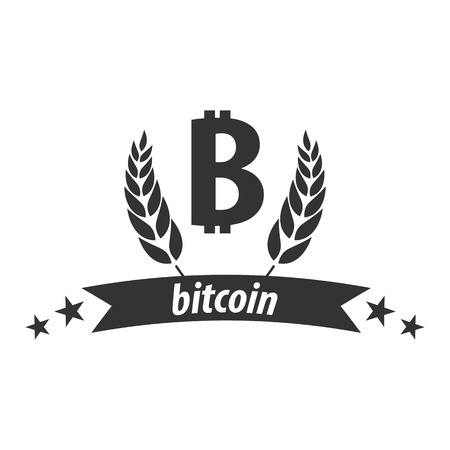 techology: Bitcoin logo and emblem. Digital cryptocurrency. Techology emblem