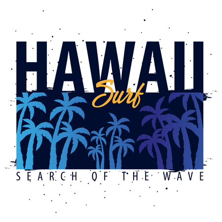 water bus: Hawaii Surfing graphic with palms. T-shirt design and print