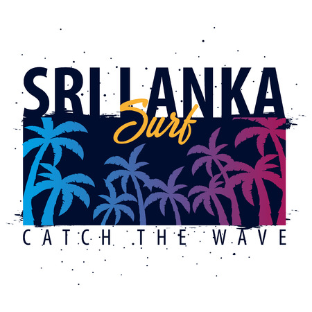 Sri Lanka Surfing graphic with palms. T-shirt design and print Illustration
