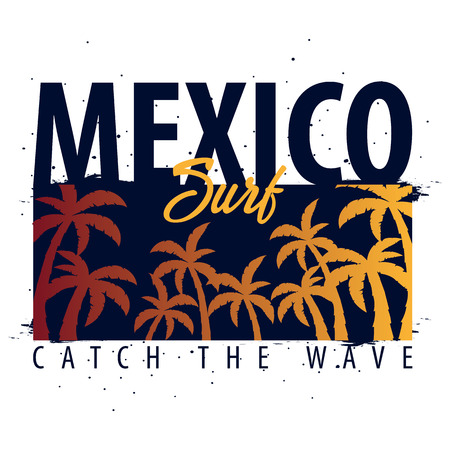 Mexico Surfing graphic with palms. T-shirt design and print Illustration