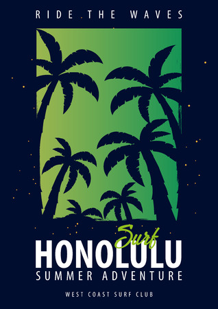 Hawaii, Honolulu Surfing graphic with palms. T-shirt design and print Illustration
