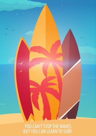water bus: Surfing banner and poster for summer design