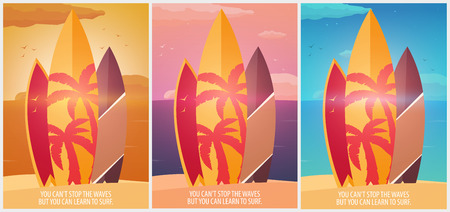 water bus: Surfing banner and poster. Surfboards on a beach. Surf and summer design