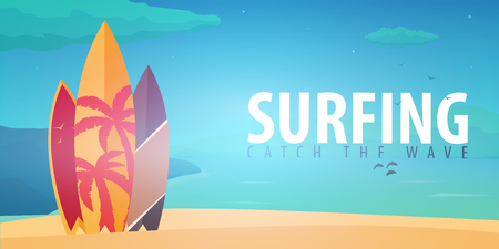 water bus: Surfing banner and poster Illustration
