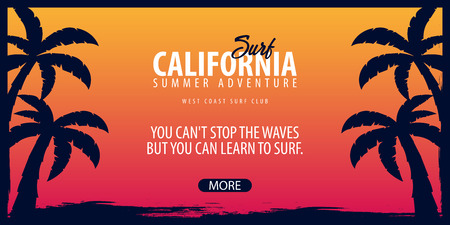 water bus: California Surfing graphic with palms. Surf club Vector banner
