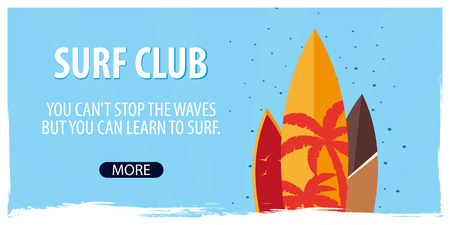 Surfing banner for Surfing Club with surfboards. Vector illustration