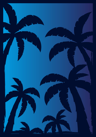 srilanka: Colorfull Palms with dark background. Vector illustration