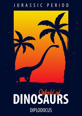 Poster World of dinosaurs. Prehistoric world. Diplodocus. Jurassic period Illustration