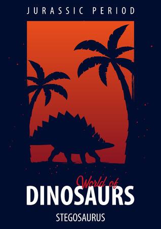 Poster World of dinosaurs. Prehistoric world. Stegosaurus. Jurassic period