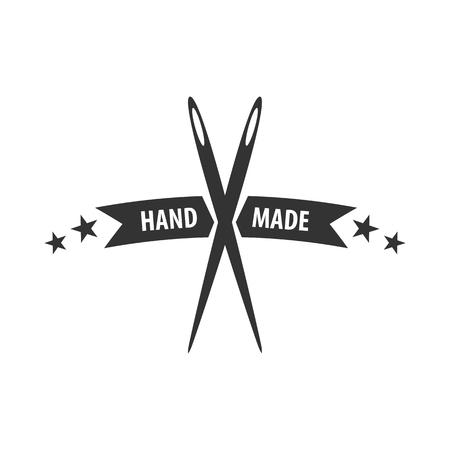 Tailor, sewing, handmade logo or emblem Vector illustration Çizim
