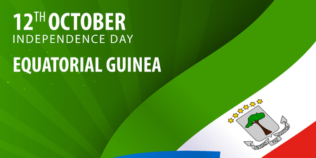 Independence day of Equatorial Guinea. Flag and Patriotic Banner Illustration