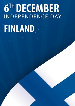 Día de la independencia de Finlandia. Bandera y bandera patriótica Ilustración de vector