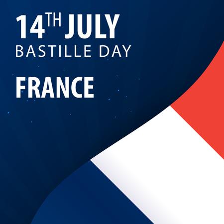 fourteenth: Bastille day of France. Flag and Patriotic Banner
